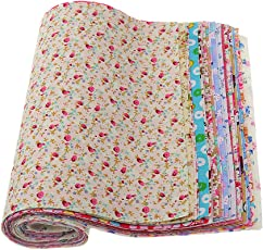 Generic Kids Mixed Floral Printed Cotton Fabric for Dolls Cloth Bags Sewing Crafts(ulticolour,PZIN55005078)- 30 Pieces
