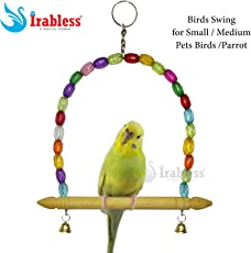 Colorful Hanging Swing for Bird Parrot Cage Finch Lovebird Toys Bird with Bells -[ Medium ]