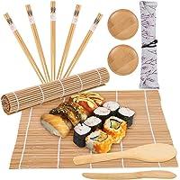 Kit Sushi Maki Complet 12 Pièces Bambou Sushi Maker Kit, Inclure 2 tapis à rouler Sushi + 5 paires de baguettes + 1…