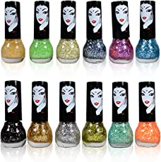 Adbeni Funky Glitters Sparkle Zari Nail Polish Pack of 12 Multi Color