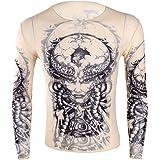 Alvivi Men's Tattoo Shirt Elastic Long Sleeve T-Shirt Fake Temporary Fancy Dress Clubwear