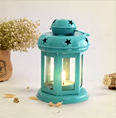 Tied Ribbons Lantern Decoration with Tealight Candle (Blue)