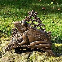 Antikas - portamanguera pared para el jardín - portamanguera decorativa con rana - soporte para manguera hierro fundido