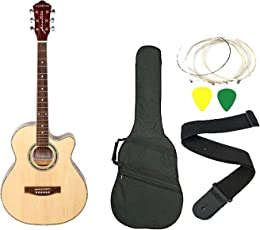 Kadence Frontier Series,Natural Acoustic Guitar Combo Bag,Strap,Strings And 3 Picks