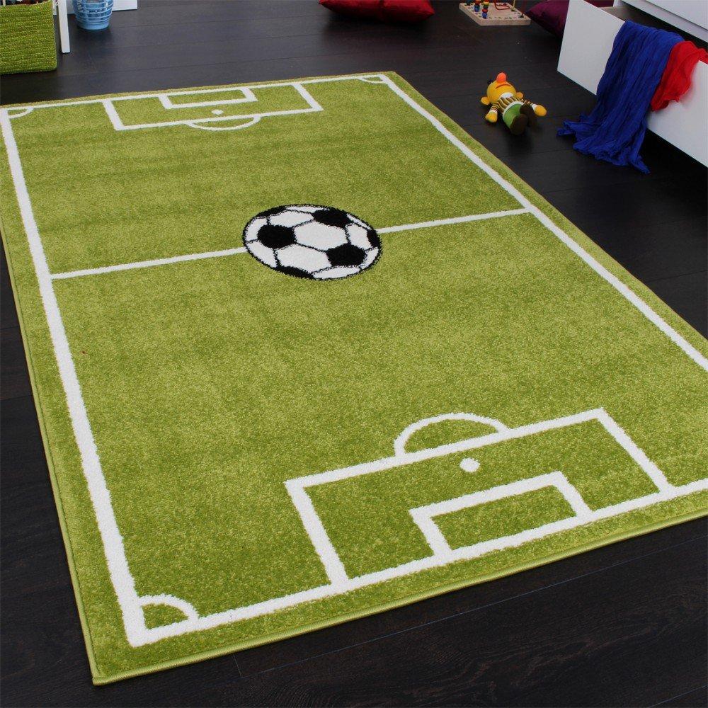 Kinderteppich grün  Teppich Kinderzimmer Fußball Spielteppich Kinderteppich ...