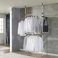 CUSCO Set de Garde-Robe Téléscopique Systèmes de Penderie Extensible Hauteur et Largeur Ajustable Porte-Vêtements…