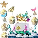 Jiahuade Sirena CakeTopper,Océano Animales Toppers,Torta de Sirena Decoración,Sirena Decoración de Pasteles Hermosa para Cump