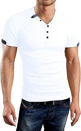 AIYINO Mens Casual V-Neck Long Sleeve T-Shirts/Long Sleeve Polo Shirts