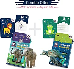 RedChimpz Wild Animals + Aquatic Life | Summer Vacations Learning Kit | AR/VR Based Educational Toys for Kids | Age 3-10, Set of 2