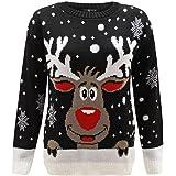 Niños Niña Punto Reno de Navidad Rudolf Novedad de Navidad Suéter Top 2-14
