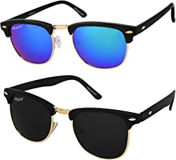 elegante UV Protected Clubmaster Boy's Sunglasses (Combo of 2) (Blue and Black|55)