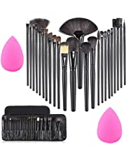MISS & MAM Professional Wood Make Up Brushes Sets With Leather Storage Pouch - 24 Pc (HANDLE COLOUR MAY VARY) + 2 SPONGE PUFF (COLOUR MAY VARY)