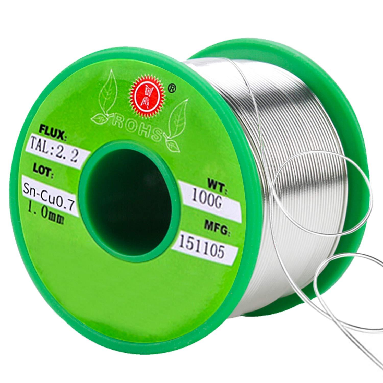 SANTOO Sn-99.3 Cu-0.7 Hilo de Estaño de Núcleo de Colofonia Cable Sin
