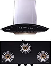 Seavy Auto Clean Kitchen Chimney Combo with Gas Stove, 60cm 1200M3/hr Suction Chimney + 3 Burner Cooktop (Ciaz SS 60)