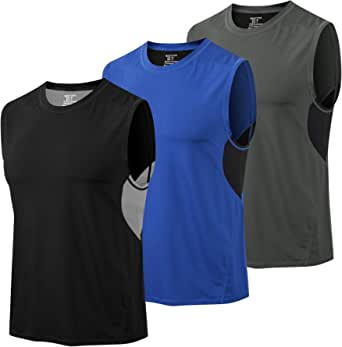 MEETYOO Men's Tank Top, Sleeveless Tops Breathable Gym Vest Top Tank T-Shirt for Running Fitness Sport