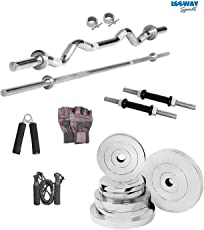 LEEWAY Premium Quality; Professional Steel Weight Plates Set; Home Gym Combo; STEEL HOME GYM; Gym Equipment; Home Gym Station; Chrome Weight Gym Set Combo; Chrome Plated Steel Exercise Set; [10 KG TO 200 KG]