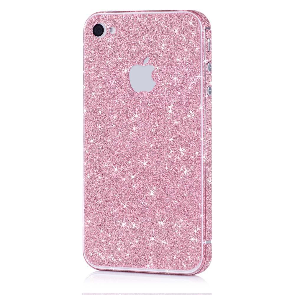 Pellicola MC24® glamour skin effetto glitter per Apple iPhone 4 4s in pink - pellicola adesiva diamo