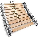 ABbuy® Wooden Hangers | Pack of 6 | Metal Adjustable Non Slip Clips Grip | Chrome Swivel Hook | Cloths Pants Skirt Children S