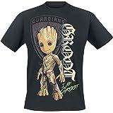 Guardianes De La Galaxia 2 - Groot Shield Hombre Camiseta Negro, Regular