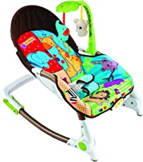 BAYBEE Newborn-to-Toddler Portable Rocker/Bouncer with Soothing Vibration and Musical Toy (Blue and Red, BBTR88923BR)