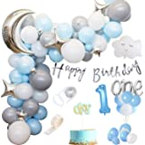 Party Propz 1st Birthday Boy Decoration Combo Set - 80Pcs for Celebration / 1st birthday decoration for boys / First birthday