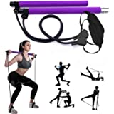 GIKERSY Pilates Bar Kit, Met Weerstandsband, Draagbare Yoga Rod, Met Voetlus Sport Oefening Fitness Puller Voor Thuis Gym Bod