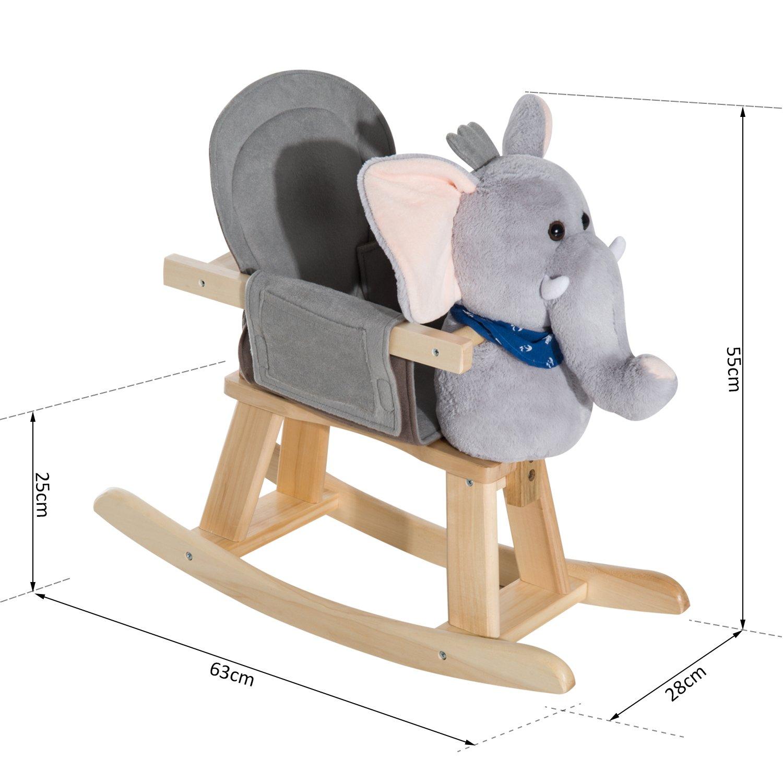 homcom childrens plush rocking horse w sound brown ideal home show