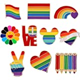 Simon Lee Woodham 10 Pezzi Spille Arcobaleno, Spille Arcobaleno LGBT Pride, Spille Gay Lesbiche Arcobaleno LGBT, per Maglioni