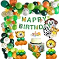 MMTX Giungla Decorazioni di Compleanno Party Ragazzi-Happy Banner di compleanno con Palloncini in lattice e Safari Forest Ani