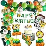 MMTX Jungle Décorations Anniversaire Garcon Enfant-Bannière joyeux anniversaire avec latex Ballons et Safari Forest Animaux b