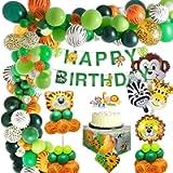 MMTX Giungla Decorazioni di Compleanno Party Ragazzi-Happy Banner di compleanno con Palloncini in lattice e Safari…