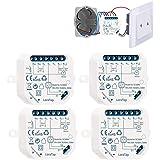 LoraTap Interruptor Persianas WiFi, 4 Piezas Relé de Persiana Temporizador Inteligente para Cortina Eléctrica, Control Remoto