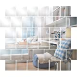 Aktidia Wandspiegeltegels, zelfklevend, 15 x 15 cm, 32 stuks, vierkante spiegel, zilver voor badkamer, keuken, woonkamer, kle