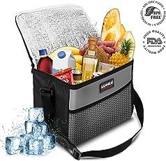 SANNE Kühltasche Picknicktasche Kühlbox Lunch Tasche Lebensmitteltransport für Büro Arbeit Outdoor Camping Reisen, Eistasche klappbar Faltbar 10L,27x17x21cm(grau)