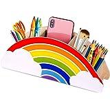 Gamenote Trä pennhållare och pennhållare - regnbåge tillbehör caddie skrivbordsorganiserare för kontorsmaterial makeupborste