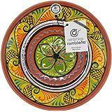 CERÁMICA RAMBLEÑA | Plato Decorativo para Colgar en Pared | Plato de cerámica | Plato decoración Mediterránea Amarillo-Blanco
