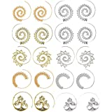 GUUTUUG Orecchini a Cerchio a Spirale da 10 Paia per Orecchini da Ragazza in Oro con Pendente Tribale Vintage
