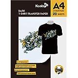 KOALA Inkjet Iron On T Shirt Transfer Paper for Dark Fabrics x 20 Sheets, A4