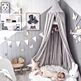 Dix-Rainbow Children Bed Canopy Grey Round Dome, Nursery Room Decorations, Cotton Net Bed Canopies Kids Play Tent for…