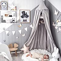 Dix-Rainbow Children Bed Canopy Grey Round Dome, Nursery RoomDecorations,Cotton Net Bed Canopies Kids Play Tent for Baby, Height 240cm/94.5in