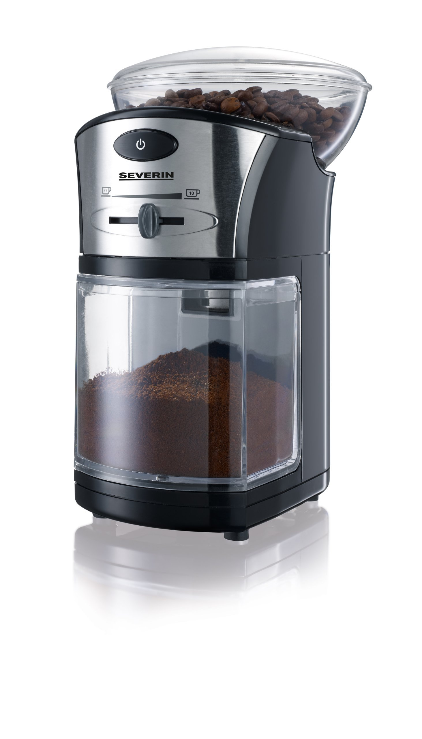 SEVERIN KM 3874 Elektrische Mahlwerk-Kaffeemühle (100 W, Edelstahl-Scheibenmahlwerk, Max. Füllmenge 150 g) schwarz…