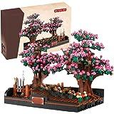 Ditzz 813 stycken persikoträdgård byggstenar med byggplattor, persikoblomma modellbyggsats byggleksaker kompatibel med Lego t