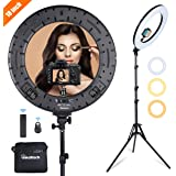 "INKELTECH Ring Light 18""/46cm Outer 60W Dimmable LED Ringlight Kit with Light Stand,Adjustable 3000K-6000K Color Temperature Lighting for Makeup,Photography,YouTube,Camera,Selfie,Knob&Remote Control"