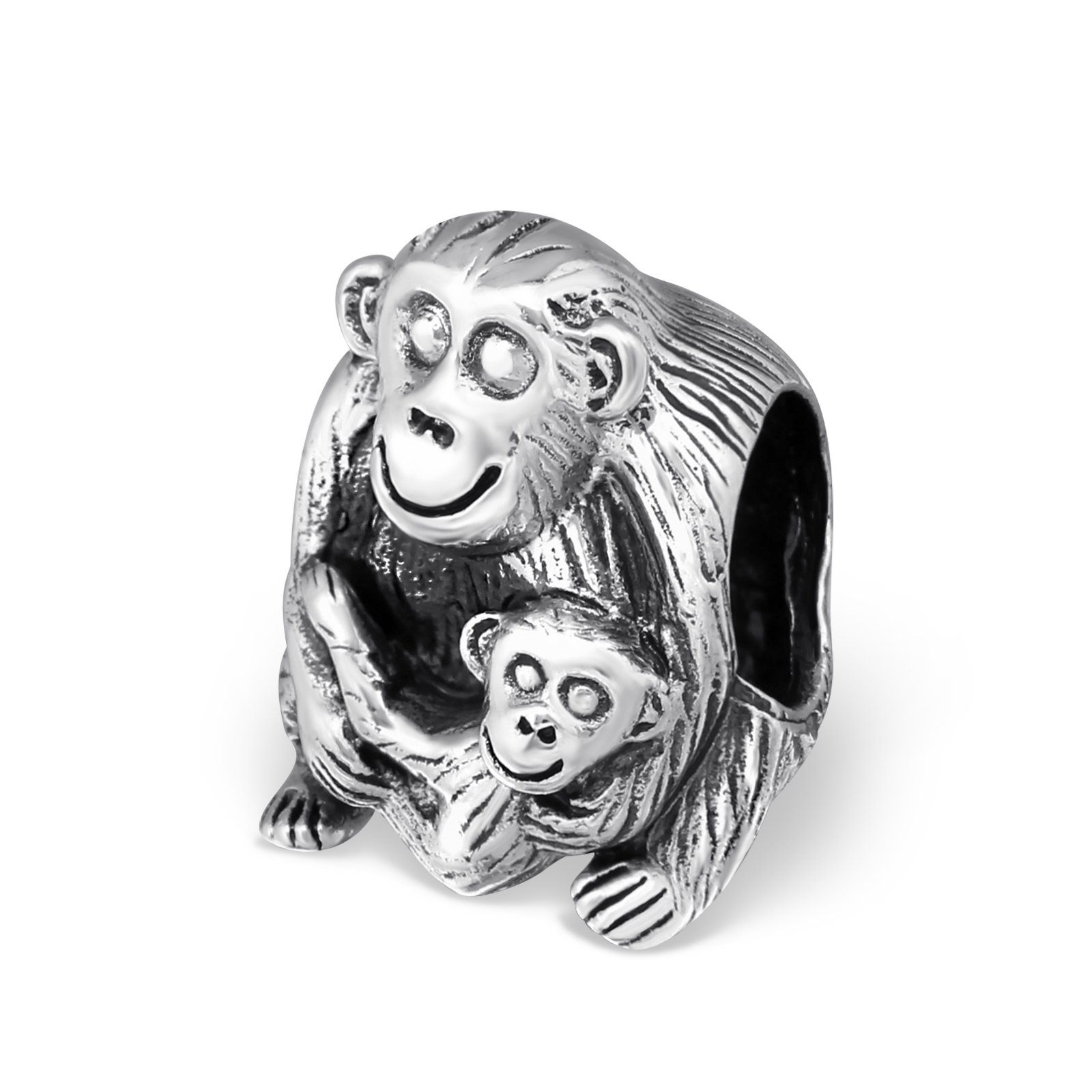 Silvadore – Silver Bead – Monkey Baby Dad Son Smile Happy Ape Sitting – 925 Sterling Charm 3D Slide On 631 – Fits…