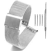 Adallor® Cinturino Smartwatch 20mm 22mm 24mm 18mm 16mm 14mm 12mm 10mm Oro Nero, Cinturino Orologio Maglia Intrecciata…
