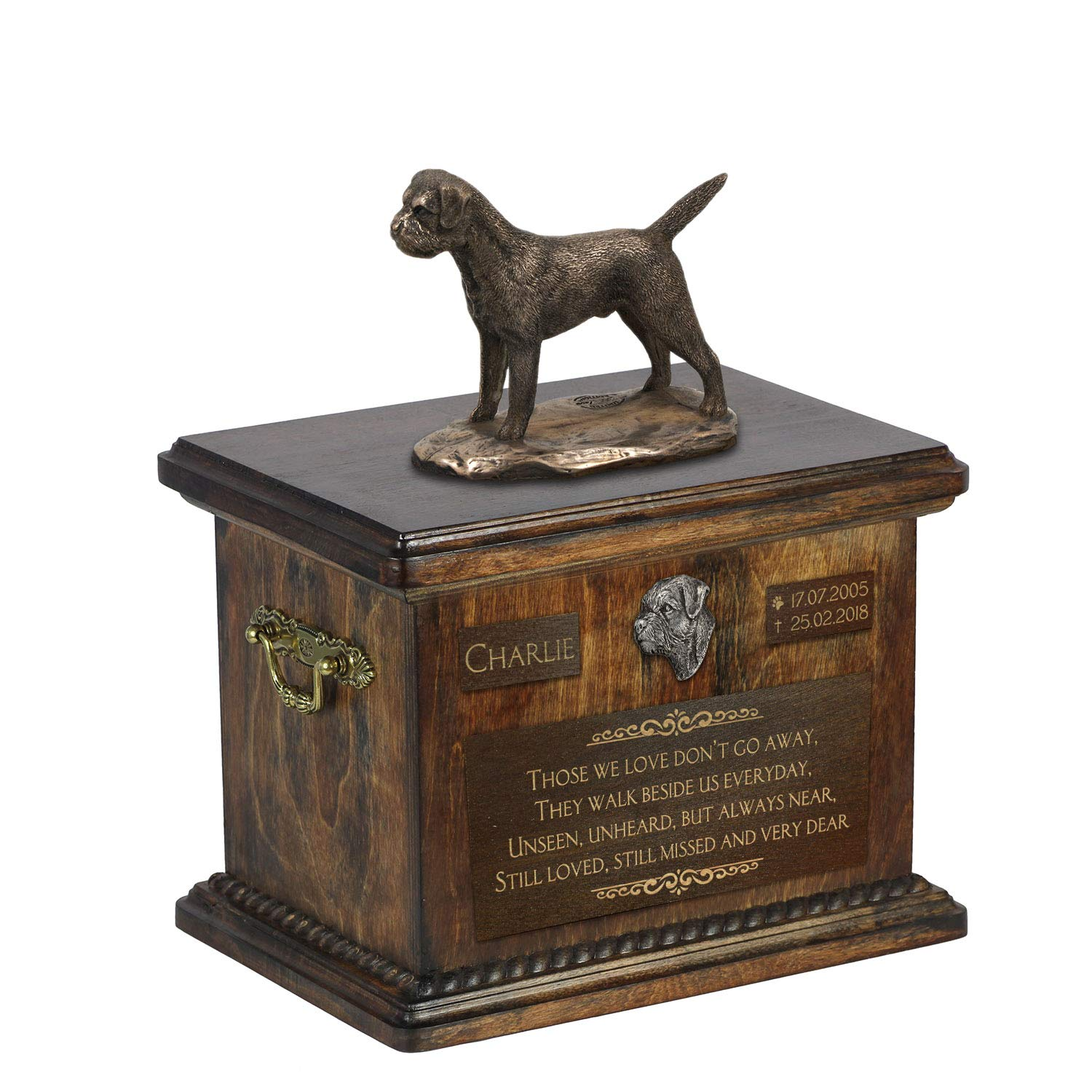 Border Terrier, Urn for Dog Ashes Memorial with Statue, Pet's Name and Quote – ArtDog Personalized