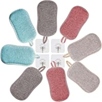 Eponge Microfibre,Eponge Lavable Reutilisable,Paquet de 8 Eponge Lavable,Antibactérienne, Réutilisable,Ne Raye Pas…
