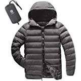 LAPASA Men's Lightweight Water-Resistant Down Jacket Breathable Windproof Packable Hooded M54