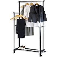 Whixant Portable Double Pole Telescoplc Clothes Rack Laundry Drying Stand with Wheels for Indoor and Outdoor