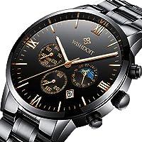 WISHDOIT Hommes Casual Sports Étanche Analogique Quartz Montre Calendrier Chronographe avec Mode Noir Acier Inoxydable Bracelet 9831D
